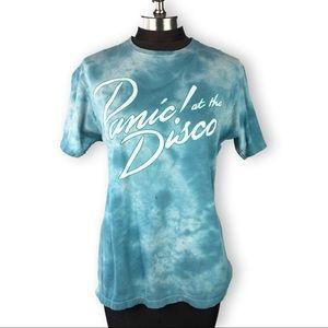 Tops - Panic at the Disco Band Tee Blue Tie Dye Shirt